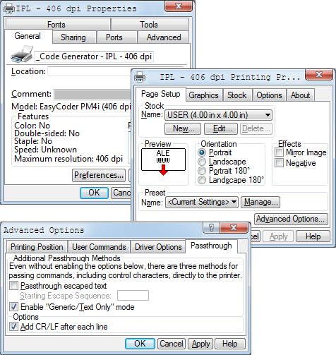 How to enable 'Pass Through' mode in Honeywell print drivers for Windows